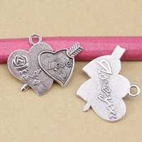 Wholesale 10pcs Antique Silver quot LOVE quot Heart Charms Pendant A Arrow Through Heart Diy Fashion Jewelry mm F950