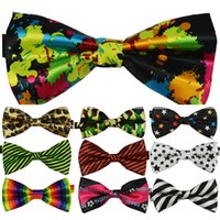 Wholesale 1pce Promotion Fashion Cartoon Adult Bowties Polyester Slik Casual Work Tie Bright bow tie gravata Colorful borboleta For men