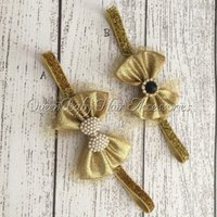 Wholesale Gold Hair Bow Matching Sparking Rhinestone Glitter Elastic Headband Baby Headband