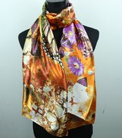 lavender silk - 1pcs Orange Lavender Daisy White Butterfly Women s Fashion Satin Oil Painting Long Wrap Shawl Beach Silk Scarf X50cm