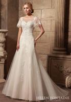 Wholesale 2016 Vestidos De Novia Formal Women Wedding Dresses A line Illusion Jewel Cap Sleeves Appliques Tulle Low Back Bridal Gowns HFW10185