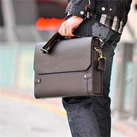 Wholesale 2014 New Fashion Brand Business Leather Men s Faux Leather Shoulder Briefcase Bag Brown