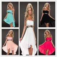 Wholesale Sexy Casual Dresses For Womens Bridesmaid Dress Metallic Accent Fashoin Chiffon Tube Dress Colors Plus Size CB9591