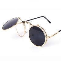 wholesale designer lots - Vintage Round Flip Up Designer Steampunk Sunglasses Metal Oculos De Sol Women Coating Men Retro Circle Sun Glasses