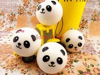El envío libre 2 pedazos / porción 4 CM suave linda de la panda Cara bollos blando de Kawaii colgantes Squishie Alimentación del teléfono móvil encanto del teléfono móvil