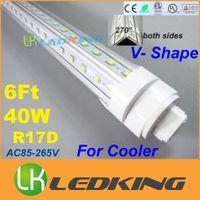 Wholesale 6ft T8 LED Tube V Shape Double Glow Light rotating R17D W feet m For cooler door LED lights AC85 V CE FCC ETL SAA UL CSA