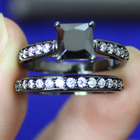 Cheap Lady's 18K Black Gold Filled Square Black Sapphire Round White CZ Paved Wedding Couple Ring Set EXCLUSIVE Jewelry