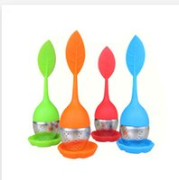 Wholesale 2015 New silicon tea infuser Leaf Silicone Tea Infuser with Food Grade make tea bag filter creative Stainless Steel Tea Strainers R773
