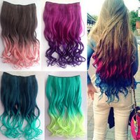 Wholesale Hot Sale Ombre Color Hair Extention Long Hair Piece Popular remy Human Curly Hair Extensions G0040