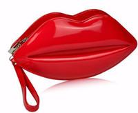 Wholesale 2015 Fashion portable Red Sexy Lips Pattern clutch female Chain Shouder Bag Evening Purse Sleek Women Handbags kiss cross body wallet