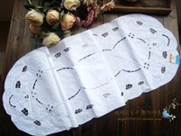 oval tablecloth - cm cm European fashion white embroidered Cotton table runner placemat coffee table dining table flag oval tablecloth