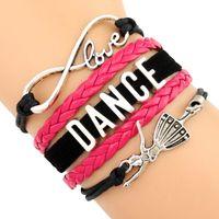 ballerina charms - Infinity Love Dance Ballerina Ballet Dancer Charm Wrap Bracelets Leather Wax Suede Unisex kid child girls Women Fashion Bracelet Custom
