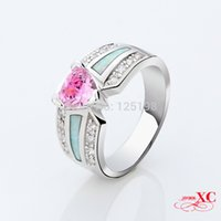 Cheap Hot Sale Pink Sapphire opal Wedding Finger Rings 14KT White Gold Filled AAA Zircon Ring For Womne Fashion Fine Jewelry RP0029-6