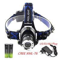 achat en gros de zoomable tête de lumière dirigée-zoomable projecteur CREE XML-T6 Phare T6 LED Lampe LED rechargeable zoom vélo tête légère + 2x 18650 batterie + chargeur AC
