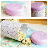 Wholesale Iron Storage Tank Box Round Sealed Cans Tea Tin Vintage Romance Korean Pastoral Small Floral Colors Home Coffee Supplies