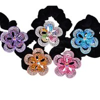 Wholesale Pretty Two layer oink flower scrunchies hair accessories lady elastic hair bands colors hair holder