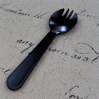 Wholesale Plastic Spoon Sets Cake Afternoon Tea Wedding Party Disposable Dinnerware Sets Pack of Black White by Amazon