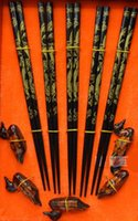 Wholesale Traditional Chinese Culture Classic Pairs Wood Dragon chopsticks Set Free Duck