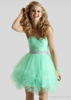 Wholesale Mint Green Short Ball Gown Sweetheart Crystal Tulle Homecoming Dresses Prom Gown