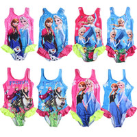Wholesale 2015 Children Girls Hot Baby Swimwear Toddler Swimsuit Queen Elsa Anna One piece Years Tankini Bikini Bathing Set Swiwear
