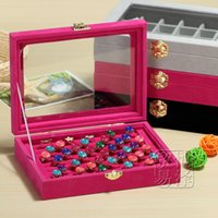 Wholesale ring jewelry box glass cover ring storage box stud earring box wheel stud earring jewelry holder accessories display rack