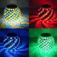 Wholesale Outdoor LED Solar Light Mosaic Ball Color Changing Waterproof Flameless Lamp Garden Decoration Lighting