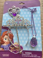 baby magic set - PrettyBaby Sofia Princess Magic Wand Rhinestone Crown necklace Set Baby Girl Princesa Sophia Halloween Party Crown Gift For Kids in stock