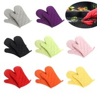 Wholesale Fashion Practical Candy color Grid Kitchen Heat Resistant Cotton Glove Microwave Oven Pot Holder Baking BBQ Cooking Gloves J0999