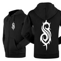 Wholesale Western Slipknot Black Sweatshirt For Men Zip Up Long Sleeve Cardigan Coats Hiphop Motorcycle Hooded Thicken Jacket YDF0205