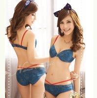 Al por mayor-Nuevas mujeres Bra Set Jeans Moda Ropa interior de las mujeres 2 colores del sujetador y panty conjunto empuja hacia arriba la ropa interior de Sutian