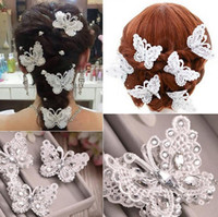 beauty drops silk - Fashion Handmade lace butterfly hairpin joker micro modelling beauty hair bride wedding accessories The bride hair clips