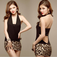 leopard print mini dress - 2015 Women and Big Girls Dresses Sexy Lingerie Women Clothing Fashion New Temptation Set Uniform Temptation Tight Leopard Skirt Wear Dress B