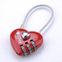 mini padlock - Mini Cute Mini Resettable Combination Padlock Heart Lock Digits Security small suitcase padlock red color FMHM504 S5