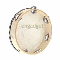 Wholesale 60pcs Toy Musical Instrument Tambourine quot Hand Held Tambourine Drum Bell Birch Metal Jingles Musical Toy for KTV Party Kid