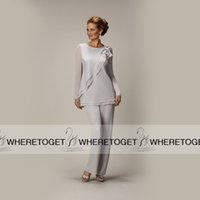 Cheap 2015 New Arrival Pant Suits For Mother Bride Elegant Jewel Neckline Asymmetrical Front Silver Chiffon Long Mother Of The Bride Pant Suits