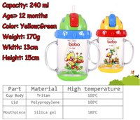 Wholesale bobo happy children treasure straw translucent cup infants learn to drink cup training cup baby drinking cup ml BB320