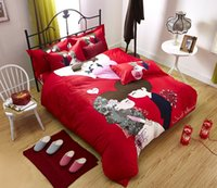 Cheap Pure cotton reactive print 3d bedding sets 4pcs Gifts Wedding Series family of four cotton quilt cotton quilt we get married wedding a fami