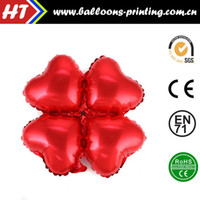 balloon posts - 50pcs alumnum balloons Festival party supplies Cheap whole network Clover Foil Balloons red heart shaped birthday party post production ma