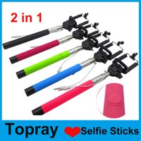 Wholesale 2015 New Selfie Stick Self timer Extendable Monopod Tripod with Shutter For Camera iphone plus S Galaxy S5 S4