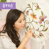 Wholesale Pastoral lace cloth flowers fan cover dust cover embroidered floor fan cover fan sets round the whole package