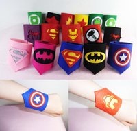 Wholesale 19 Design Super hero Iron Man Superman Captain America Hulk Spider Man wristband Halloween Xmas party cosplay armguard arm Wrist B001