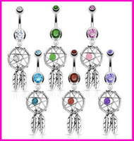 Wholesale Fashion Dreamcatcher Leaves Navel Bell Button Rings Hot Sliver Charm Crystal Body Jewelry Sexy Party Accessories