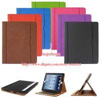 Wholesale iPad6 Air2 Mini4 Tan Leather Wallet Stand Flip Case Smart Cover for iPad Air Air Mini Mini2 Mini3 Retina With Auto Sleep Wake UP