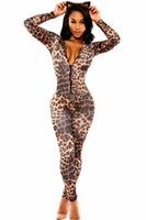 bandaged body - 2016 New Fashion Zentai Body Suit Catwoman Leopard Zipper Front Long Sleeve Bandage Jumpsuit Bodysuit Catsuit Overalls Sexy Club Wear S6961