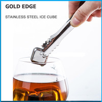 Wholesale 100 High Quality Stainless Steel Ice Cube with free Clip Whiskey Chilling Stones Cooler Drink Chiller Whisky Rock Stones Cooler
