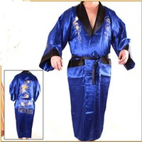 Wholesale blue black sleepwear Chinese Men s Two face Satin Silk Robe Embroidery Reversible Kimono Bath Gown Dragon