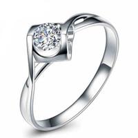 Wholesale S925 White Gold Filled Rings For Women Wedding Jewelry Bijoux zirconia vintage Accessories Engagement Bague Bijouterie