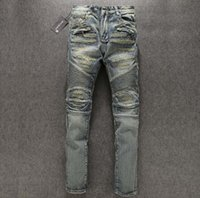 Wholesale Man Fashion Balmain Jeans New Paris Knee Fold Holes Punk Balmain Biker Jeans Real Photos