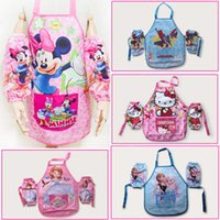 Wholesale Anime cartoon aprons with raglan sleeves sets Frozen SpiderMan Mickey Princess children waterproof pinafore kids clothes suit HX