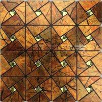 aluminum facade - AIA Triangle Maple Leaf metal aluminum plate mosaic pattern Diamond Self adhesive backdrop facade factory outlets